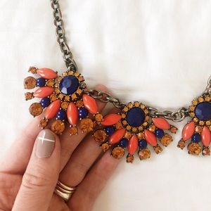 J. Crew Orange and Navy Statement Necklace
